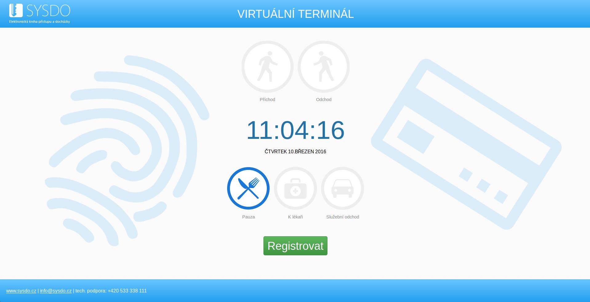 Virtuální terminál s vyznačeným typem přístupu ve specifické době